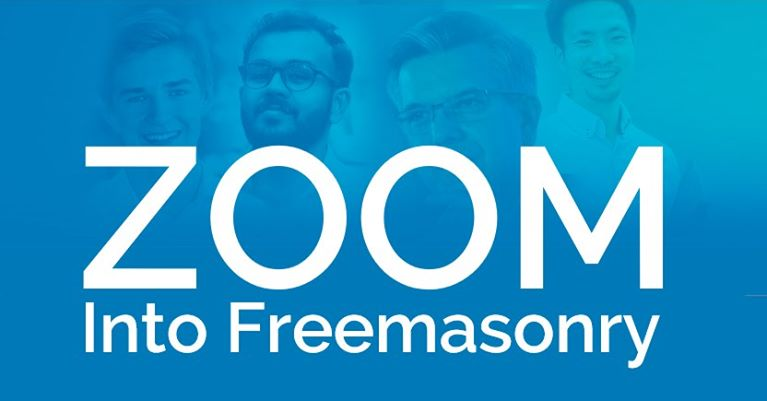 blue image with faces in the background and the wording 'Zoom into Freemasonry'