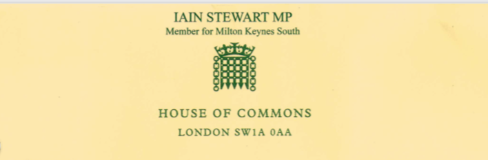 Letter from MP Iain Stewart thanking Buckinghamshire Freemasons